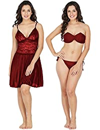 Klamotten Satin Women Nightwear and Bikini Set 221M-07