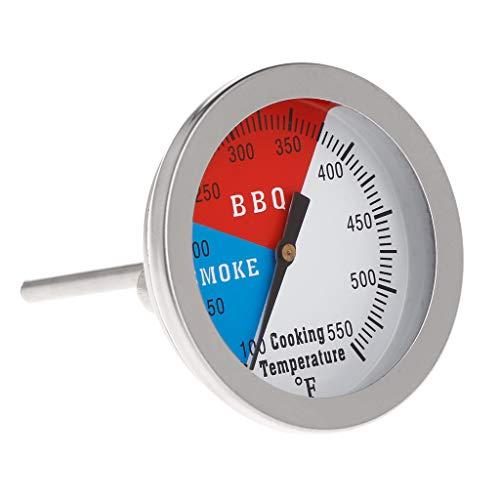 "JunYe 2"" 550F BBQ Thermometer Gauge Barbecue Grill Wood Smoker Charcoal Heat Indicator"
