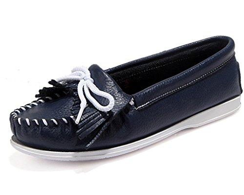 Minetom Women Girls Summer Boat Shoes Zapatillas Con Cordones Mocasines Zapatos Con Borlas Flat Heel Blue
