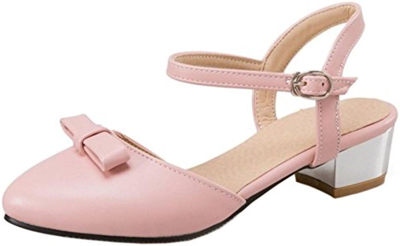 COOLCEPT Damen Mode Knochelriemchen Sandalen Mitte Blockabsatz Geschlossene Slingback Schuhe Gr