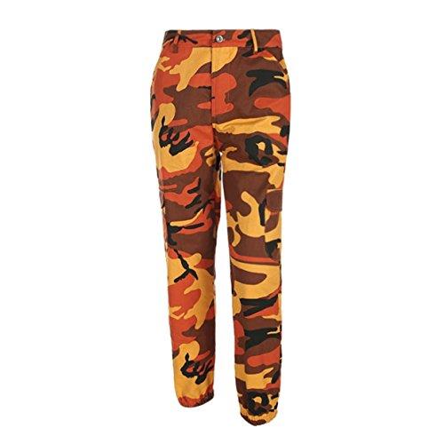 Longra Camuflaje Pantalones, Pantalones Yoga Mujer Ancho Bolsillos Estampado Camuflaje con Botón En La Cintura Moda (Naranja, S)