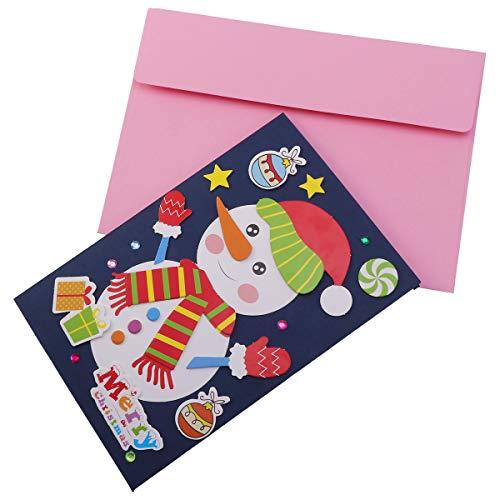 Toyvian Weihnachtsgrußkarten Weihnachten Urlaub Karte handgefertigt Material Tasche Basteln DIY Lieferungen für Kinder Kind (Schneemann - Schneemann-bausatz