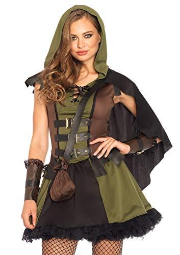 Leg avenue  85281 - set di costumi da donna darling robin hood, misura taglia l 40 euro, verde oliva e nero