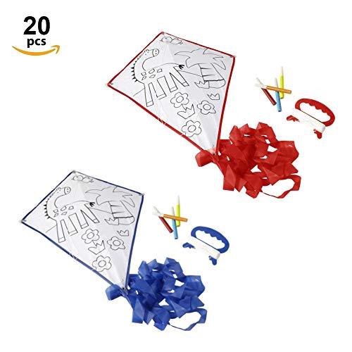 Fun fan line® - set di aquiloni da colorare con bordi blu e rossi. ideale per regali e feste di compleanno per bambini. con pennarelli colorati! (20 pcs)