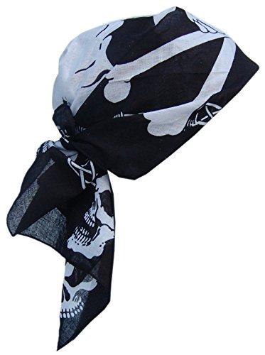 Cool4 BANDANA TOTENKOPF MUSTER Biker Piraten Kopftuch Schwarz Weiß Tuch Beanie Mütze Cap KT12 (Weißes Tuch Cap)