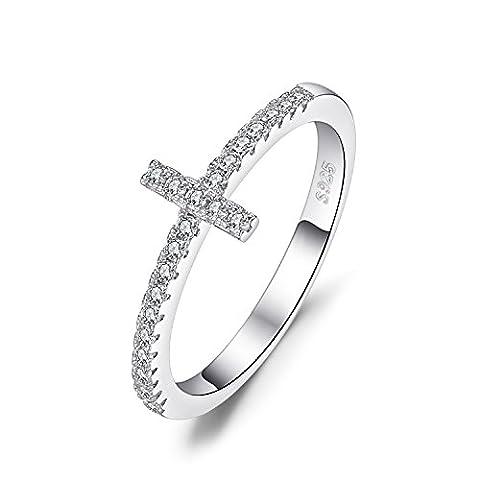 JewelryPalace 0.11ct Jolie Bague Croix Femme en Argent Sterling 925 en Zrcon Cubique de Synthèse CZ Taille 54