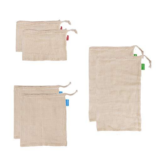 UPKOCH 6 stücke Wiederverwendbare Baumwollgewebe Produzieren Taschen Kordelzug Gemüsetaschen für Lebensmitteleinkauf Lagerung von Obst Garten Produzieren Net Taschen - Lagerung Auberginen