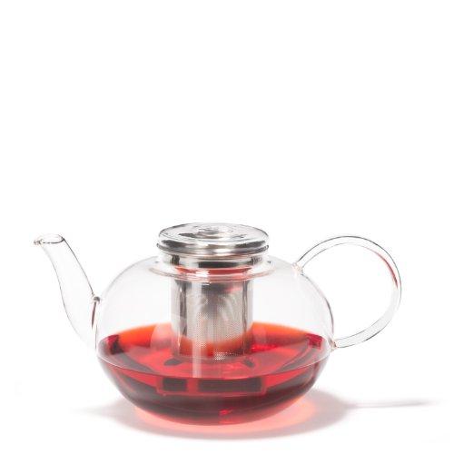 Leonardo Moon Teekanne, mit Deckel und Teesieb, 2 l, handgefertigt, hitzebeständiges Glas und Edelstahl, 030527 -
