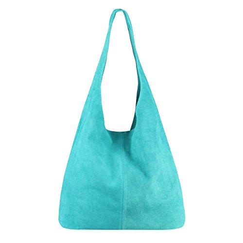 OBC MADE IN ITALY DAMEN LEDER TASCHE Handtasche Wildleder Shopper Schultertasche Hobo-Bag Henkeltasche Beuteltasche Velourleder (Türkis (Wildleder)) (Türkis Handtasche Italienischen Designer)