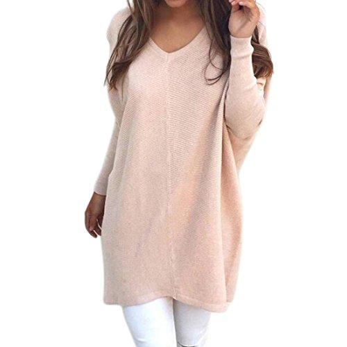 Shinekoo Damen Sweatshirt V Ausschnitt Pullover Pulli Lose Hemd Shirt Schlitz Oberteil Tops -
