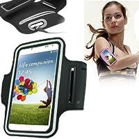 TechExpert Brassard tour de bras noir pour Samsung Galaxy S4 i9500 et S3 i9300 idéal pour les sportifs, course à pied ou salle de sport, pochette pour clé et trous pour écouteurs.