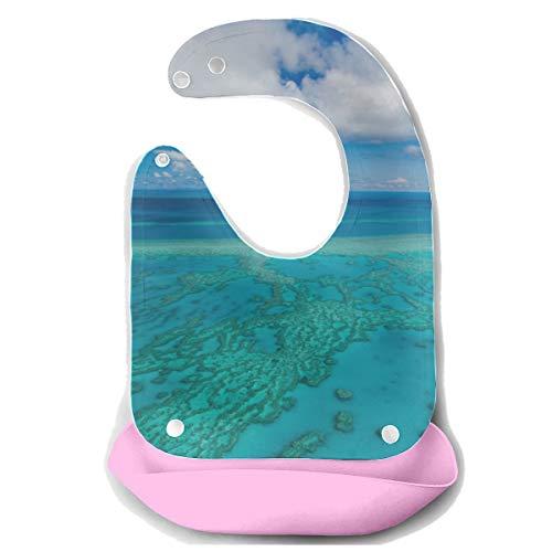 Droll Lätzchen Boy Australia Great Barrier Reef Coral Abnehmbare Silikon Futterschürze Mäusetuch Baby Fütterung Dribbeln Sabber Lätzchen Infant Snap Lätzchen Mädchen -