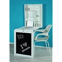 Phönix 805106WE de escritorio York para fijar en la pared, un/extraíble con mucho espacio de almacenamiento y estante de los compartimentos y panel de la frente, 60 x 75 x 15,5 cm, colour blanco