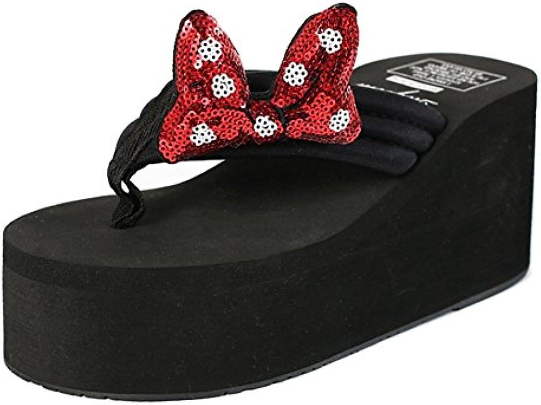 LIXIONG mujer verano sandalias Fondo de pastel de pino Fondo grueso Nudo mariposa Porciones zapato, 3 colores...