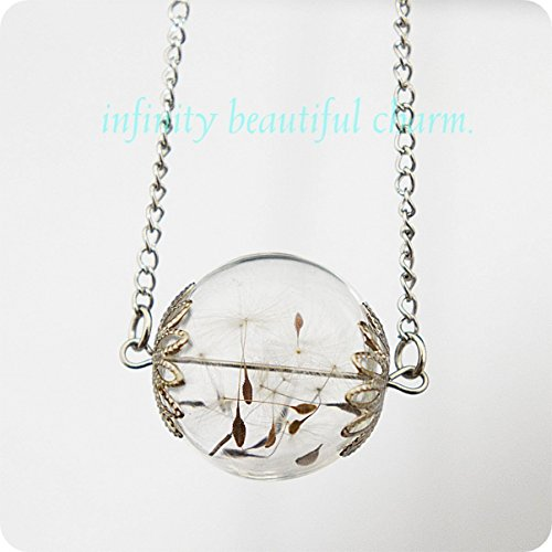 Pusteblume mini Orb Silber Make A Wish Löwenzahn Anhänger Samen Glas transparent Blumen Botanischen Petite Kleine Version Halskette Wish Anhänger (Orb-kleiner Anhänger)