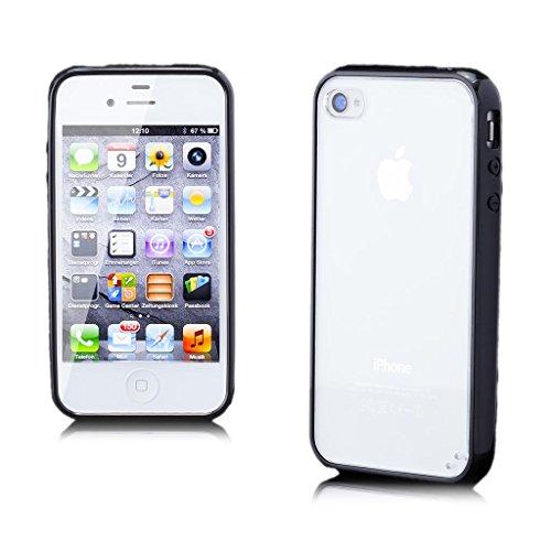 iCues Apple iPhone 4/4S |  TPU Bumper mit Klare Rückseite Case Neon Grün | [Display Schutzfolie Inklusive] Transparent Klarsichthülle Durchsichtig Klare Klarsicht Silikon Gel Schutzhülle Hülle Cover S Schwarz