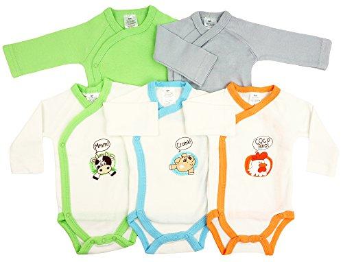 5er-Pack Baby Bodys Wickelbodys Langarm Set Tiere Gr. 56 (1M)