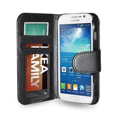Schwarz Fall mit Taschen und Magnetverschluß für Samsung Galaxy Grand Neo