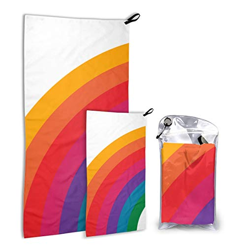 FunnyStar Quick Dry Microfiber Camping Towel Set for Hike, Travel, Camp, Backpacking - Large 140cm x 70cm - Small 80cm x 40cm - Soft, Super Absorbent, Free Carry Bag,Retro Rainbow Bright Left Side Bright Side Bag