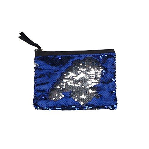 Tinksky Sequin Clutch Bag Handtasche Lady Party Abend Clutch Bag Geldbörse Geldbörse für Frauen (blau) (Tasche Abend Make-up Handtasche)