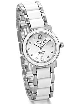 JewelryWe Damen Armbanduhr, Strass analog Quarz Uhr, mit Legierung Kunststoff uhrenarmband, Lieben Valentinstag...