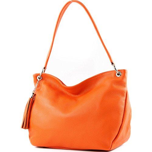 modamoda de - ital. Ledertasche Damentasche Schultertasche Umhängetasche Echtleder T154 Orange
