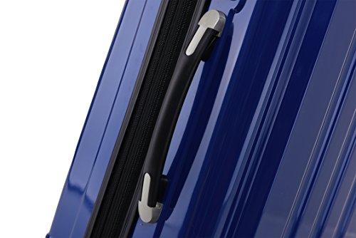 BEIBYE Hartschalen Koffer Trolley Rollkoffer Reisekoffer 4 Zwillingsrollen Polycabonat (Blau, 76cm -110L) - 5