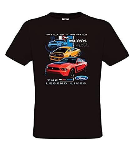 Ethno Designs Ford Mustang Boss - T-Shirt voitures américaines muscle car pour Hommes - regular fit, noir, taille