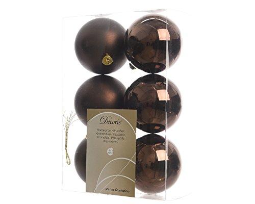 6 Weihnachtskugeln Christbaumkugeln Kugeln Baumkugeln ( dunke braun ) bruchfest 80mm … (Braun Weihnachtskugeln)