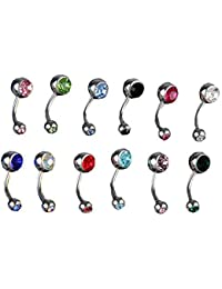 FACILLA® 12X PIERCINGS NOMBRIL EN 316L ACIER STRASS MULTICOLOR