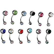 12X Piercing De Ombligo 316L Acero Bisutería Cristal 12 Color