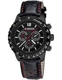 Wenger Unisex-Armbanduhr 01.0853.108 ROADSTER BLACK NIGHT CHRONO Analog Quarz Leder 01.0853.108 ROADSTER BLACK NIGHT CHRONO