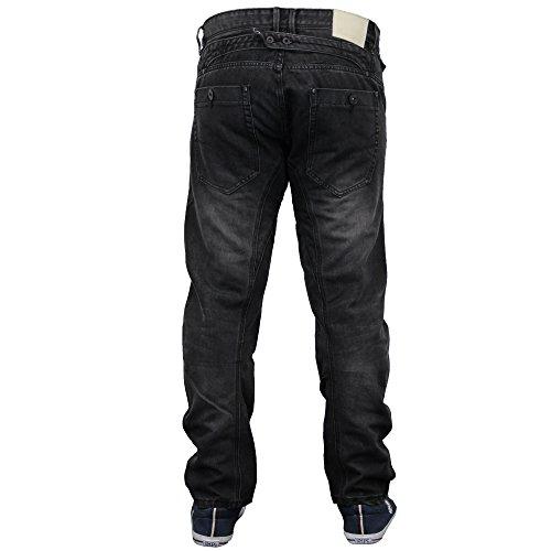 Hommes Coutures Tournantes Conique Coupe Standard Jeans Chino By Crosshatch Délavé Noir - KRACTUSDEN