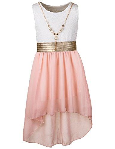 Unbekannt Kinder Sommer Fest Kleid für Mädchen Sommerkleid Festkleid mit Kette in vielen Farben M288wrs Weiss Rosa Gr. 12/140 / 146 (Mädchen Kleid Band)