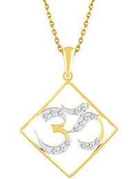"Silvernshine Diamond Accents ""OM"" Pendant Necklace, 14k Yellow Gold Fn Sterling With Chain"