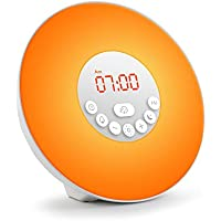MAOZUA FM Radio Alarm Clock Digital Radio Clock Bedside Alarm Clocks 6 Nature Sounds Wake up Light with 7 Colors Snooze Function and Sleep Timer Simulated Sunrise and Sunset-USB Charger-Touch Control