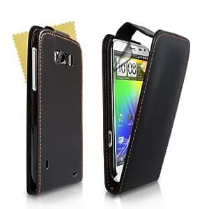 Schwarz Leder Flip Schutzhülle Für HTC Sensation XL Mit Displayschutz