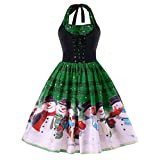 Soupliebe Frauen Weihnachten Weihnachtsmusik Anmerkungs Spitze Sleeveless Partei Kleid Swing Dress Abendkleider Cocktailkleid Partykleider Blusenkleid