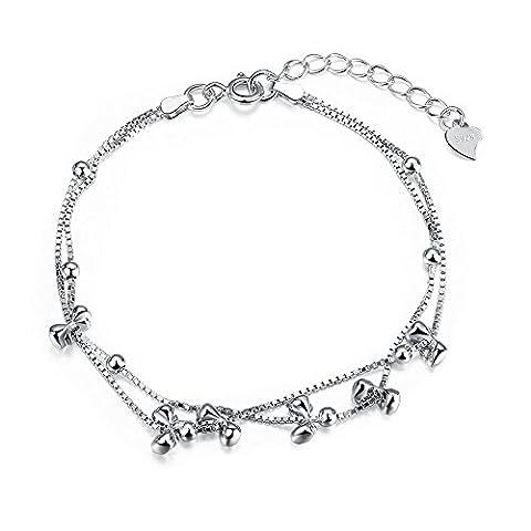 fjyouria 925Sterling Silber Ball Kette Armband Simple Seil rund Perlen Drop Armreif für Frauen Mädchen