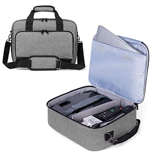Luxja Beamertasche Kompatibel mit Acer, BenQ, Epson, Optoma und Viewsonic Beamer, Projektor Tasche mit Schutzhülle für Laptop, 39.4 cm x 28 cm x 13.5 cm, Grau