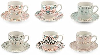 Villa d'Este Home Tivoli Sharm Set Tazzine Caffè, Porcellana, Multicolore, 6 Unità