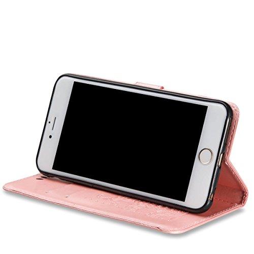 Étui en cuir pour iPhone 7 Plus , Coque iPhone 7 Plus, Lifetrut [Relief Printing] Premium PU Leather Portefeuille Flip Folio Case Cover pour iPhone 7 Plus [Marine] E205-Or Se leva