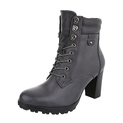 (Ital-Design Schnürstiefeletten Damen-Schuhe Combat Boots Pump Schnürer Schnürsenkel Stiefeletten Grau, Gr 37, Zy9113-)