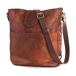 Nama'Nicola' Umhängetasche Echtes Leder Shopper für Damen Vintage Look Handtasche Beutel Tasche Schultertasche Multitasche Naturleder Braun