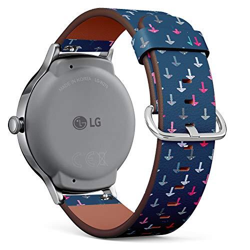 Art-Strap Kompatibel mit für LG Watch Style - Leder-Armband Uhrenarmband Ersatzarmbänder mit Schnellverschluss (Symbole Drogensucht)
