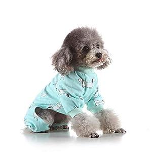 Wood.L Pyjamas pour chien vêtements pour chien petit chien combinaison pyjama pour chien chiot en coton chiot vêtements de couchage barboteuses combinaisons pour animaux de compagnie costumes excellent