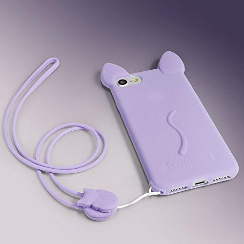 URCOVER Custodia Protettiva Morbida Apple iPhone 6 / 6s | Backcase Orecchie di Gatto in TPU Rosa | Case Ultraslim Flessibile da Donna Fantasia Laccio Lilla