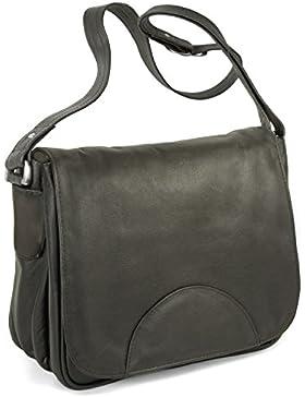 Damen Handtasche Größe M / Umhängetasche im Retro-Look aus Echt-Leder, in verschiedenen Farben, Hamosons 577