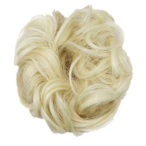 Luckhome Haargummi Haarteil Dutt Synthetik Haare Für Haarknoten Zopf Gummiband Hochsteckfrisuren Haarband Frauen Lockiges Unordentliches Brötchen-Haar-Wirbel-Stück Scrunchie Perücken(F)