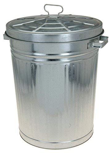 Spetebo Zink Abfalleimer mit Deckel - 55 Liter - XXL Mülleimer draußen - Zinkeimer Outdoor Mülleimer Tonne